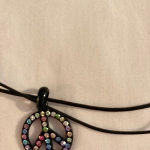 Jewelry - Rhinestone Peace necklace